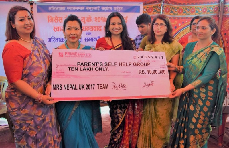 The Mrs. UK Donated Ten Lakh (One Million) Nepalese Rupees.